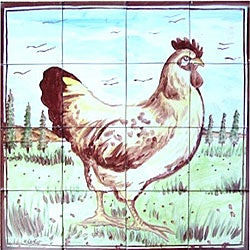 Country Rooster Mosaic 16-tile Wall Mural