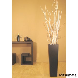 White Branches with Black Floor Vase