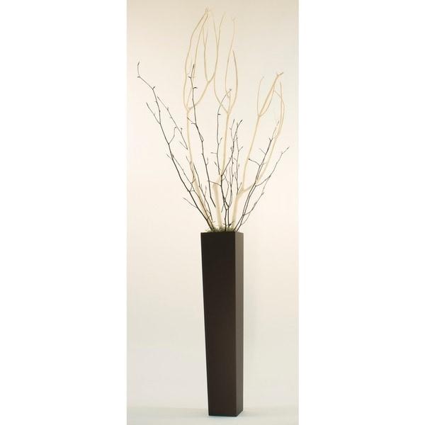 White Mitsumata with Black Branches in Black Vase