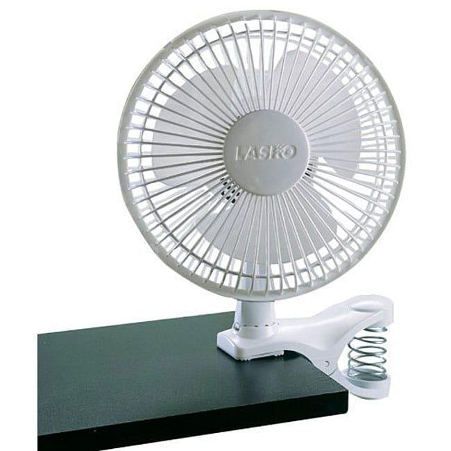 Lasko 6-inch 2-speed White Clip Fan