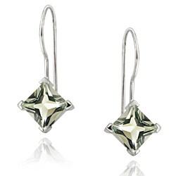 Glitzy Rocks 18k Gold over Sterling Silver Green Amethyst Drop Earrings