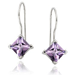 Glitzy Rocks 18k White Gold over Silver Amethyst Drop Earrings