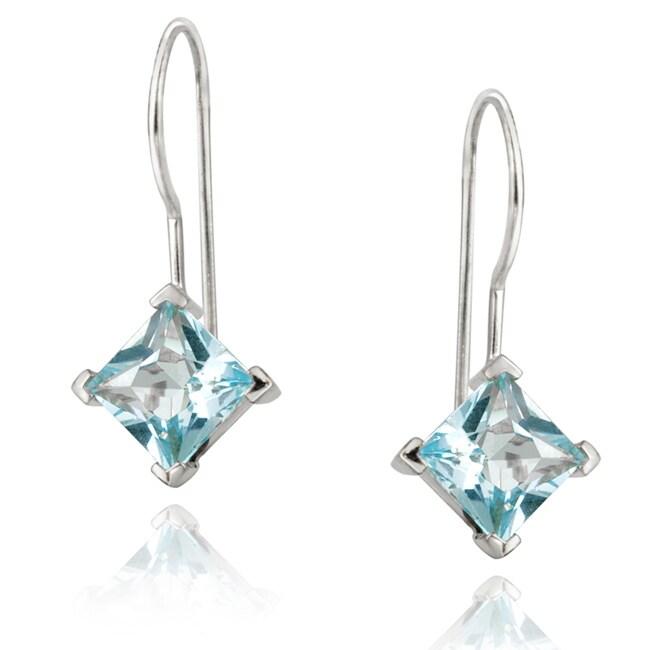 Glitzy Rocks Blue Topaz Sterling Silver Drop Earrings