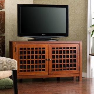 Hurley Walnut Corner TV Stand/Media Cabinet