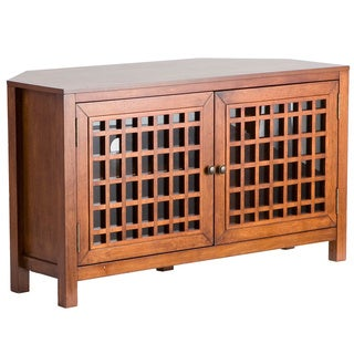 Upton Home Hurley Walnut Corner TV Stand/ Media Cabinet