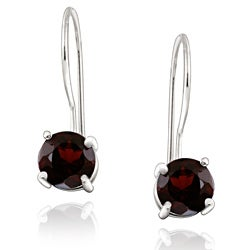 Glitzy Rocks Sterling Silver Euro Wire Garnet Earrings