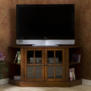 Crescent Walnut Corner Media Stand