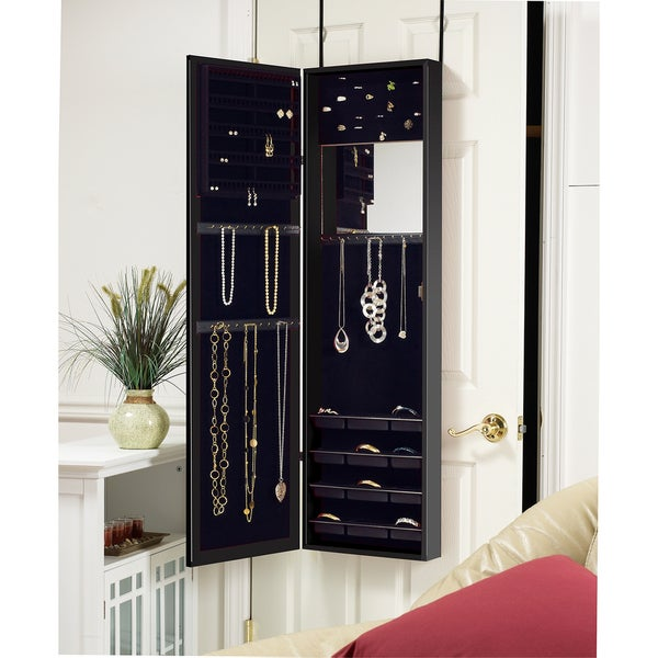 Over-the-Door Mirrored Jewelry Armoire Black