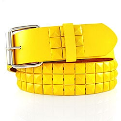 JK Belts Unisex 3-row Yellow Studded Yellow Belt