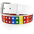 JK Belts Unisex 2-row Multicolor Star-studded White Belt