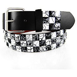 JK Belts Unisex 3-row White/ Black Checkered Studded Belt