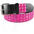 JK Belts Unisex 3-row Pink Splattered Paint Studded Black Belt