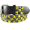 JK Belts Unisex 3-row Black/ Yellow Checkered Studded Belt