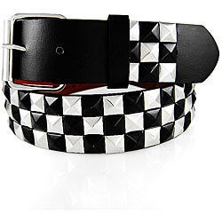 JK Belts Unisex 3-row Black and Chrome Studded Gold Belt