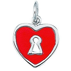 Sterling Silver Red Enamel Keyhole and Heart Charm