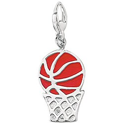 Sterling Silver Enamel Basketball in Hoop Charm