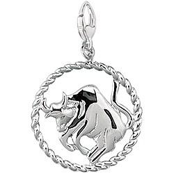Sterling Silver Zodiac Taurus Symbol Charm