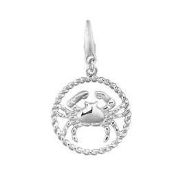 Sterling Silver Zodiac Cancer Charm