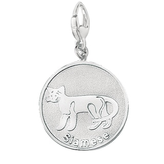 Sterling Silver Siamese Cat Round Disc Charm