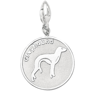 Sterling Silver Greyhound Dog Round Disc Charm