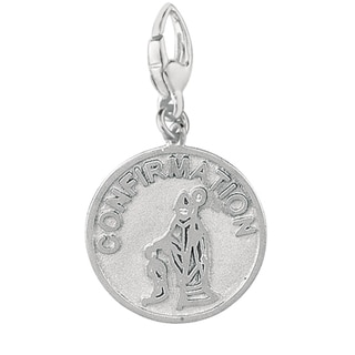 Sterling Silver Confirmation Boy and Bishop Disc Charm