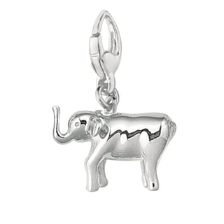 Sterling Silver High Raised Trunk Elephant Charm
