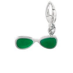 Sterling Silver Green Enamel Sun Glasses Charm