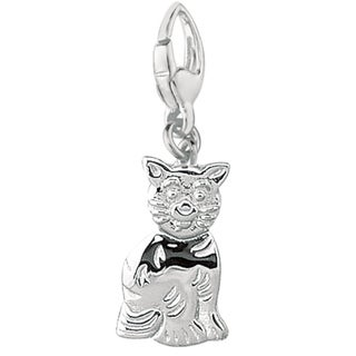 Sterling Silver 'Sitting Cat' Flat Charm
