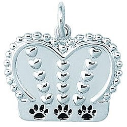 Sterling Silver Dog King Crown Charm