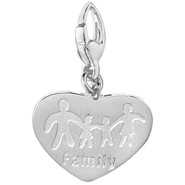 Sterling Silver Family Heart Charm