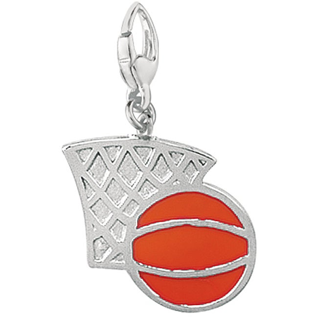 Sterling Silver Red Enamel Basket Ball and Hoop Charm