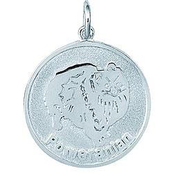 Sterling Silver Pomeranian Flat Round Disc Charm