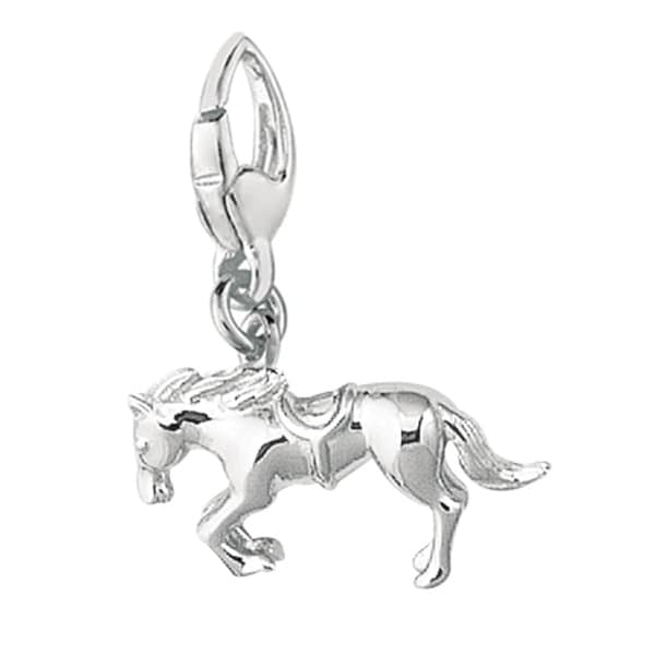 Sterling Silver Jumping Bronco with Saddle Charm