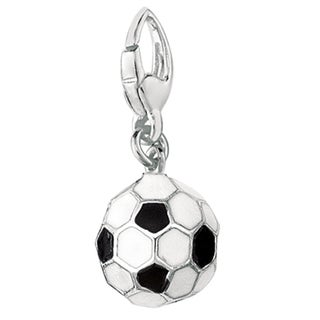 Sterling Silver 3D Black and White Enamel Soccer Ball Charm