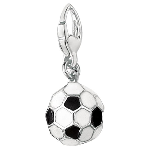 Sterling Silver 3D Black and White Enamel Soccer Ball Charm