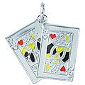 Sterling Silver and Enamel Royal Hearts Card Charm