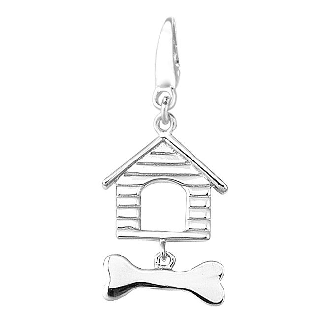 Sterling Silver Doghouse and Bone Charm
