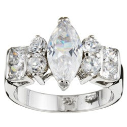 Sterling Essentials Sterling Silver Marquise CZ Engagement-inspired Ring