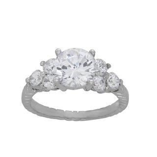Sterling Essentials Sterling Silver Round-cut Cubic Zirconia Engagement-style Ring
