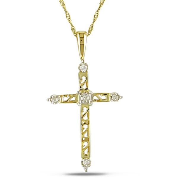Miadora 14k Gold and Diamond Cross Necklace