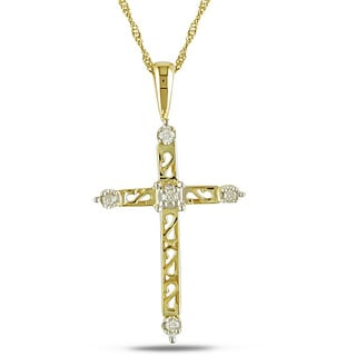 Haylee Jewels 14k Gold and Diamond Cross Necklace