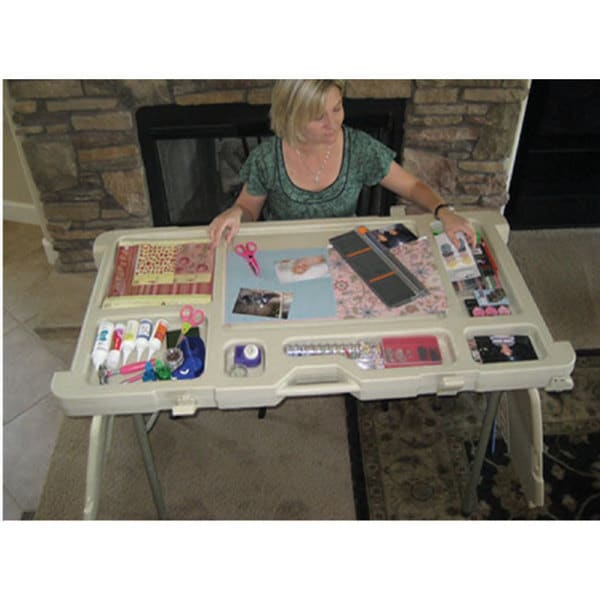 Scrap n stow folding craft table 11578548 overstock for Fold up craft table