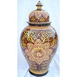 La Mamounia 21-inch Engraved Ceramic Vase (Morocco)