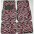 Pink and Black Zebra Front and Rear Car Floor Mats
