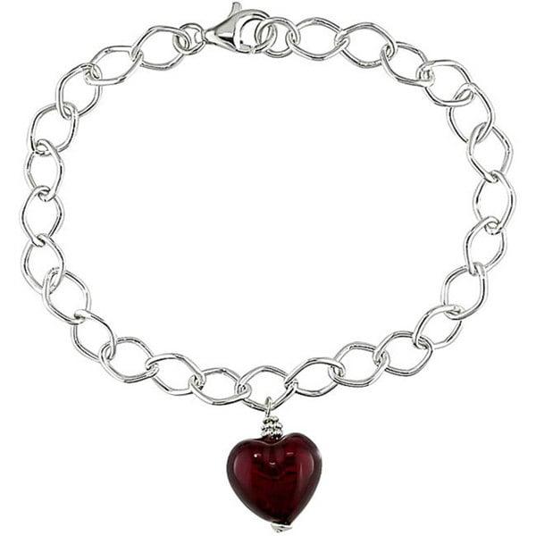 M by Miadora Silver Murano Glass Red Heart Charm Bracelet