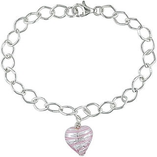 M by Miadora Silver Murano Glass Pink Heart Charm Bracelet