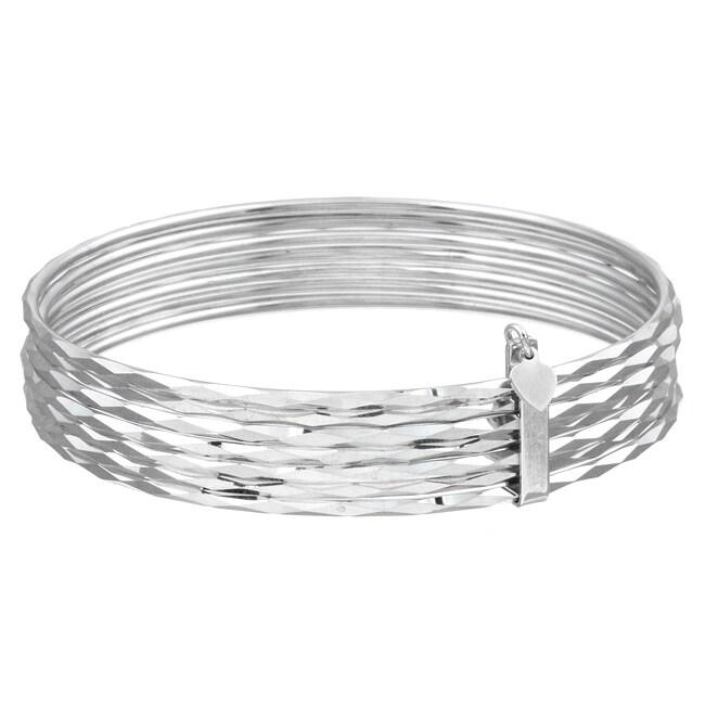 Sterling Essentials Sterling Silver 7-inch Semanario Bangle Bracelet (set of 7)