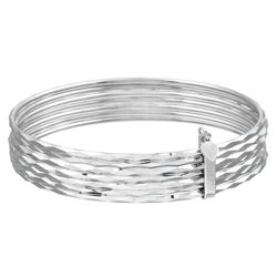 Sterling Essentials Sterling Silver 7-inch Semanario Bangle Bracelet (set of 7)