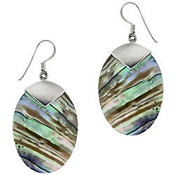 Glitzy Rocks Sterling Silver Abalone Shell Oval Drop Earrings