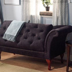 Simple living black storage chaise 11608105 overstock for Audrey bella chaise